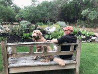 Pat enjoying the garden (click to enlarge)
