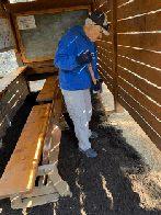 Bill Freas spreading mulch inside the bird blind